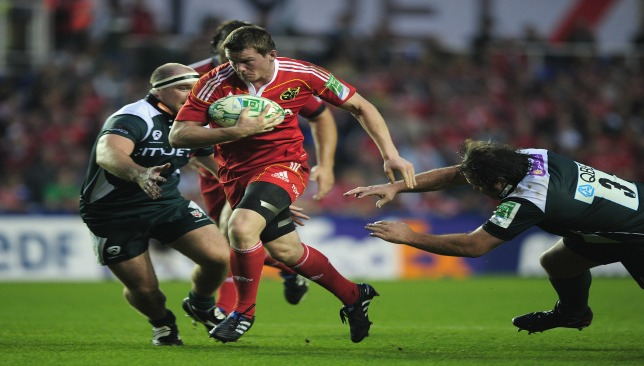 Hurley pictured playing for Munster in the Heineken Cup against London Irish