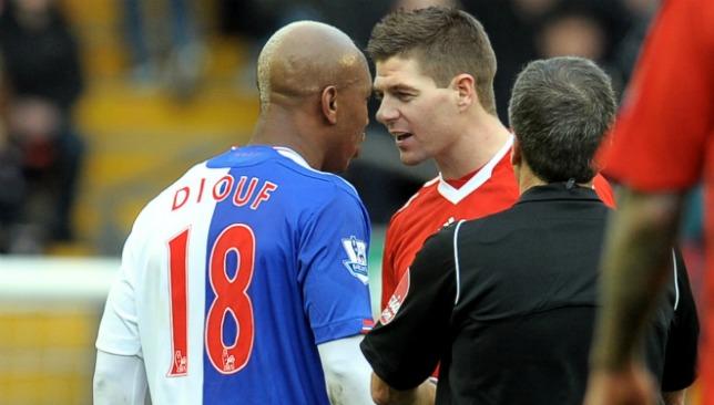 Heated: Diouf and Gerrard didn't see eye-to-eye.