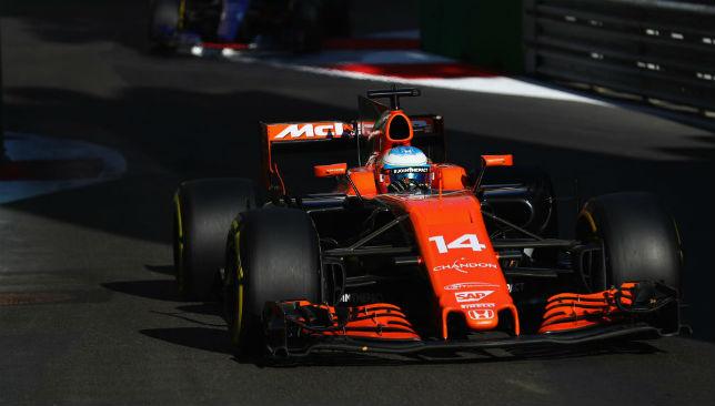 Fernando Alonso of Spain driving his McLaren Honda car.