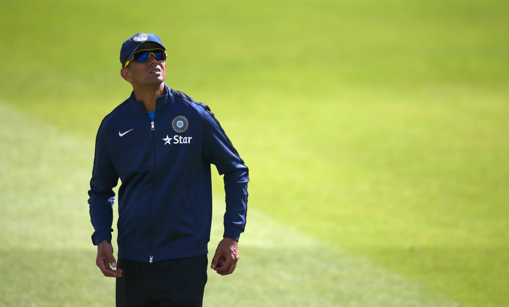 NOTTINGHAM, ENGLAND - JULY 07: Rahul Dravid of India looks on during a India nets session at Trent Bridge on July 7, 2014 in Nottingham, England. (Photo by Matthew Lewis/Getty Images)