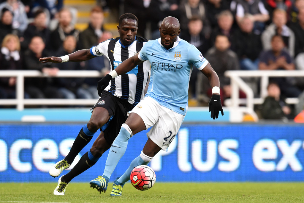 NEWCASTLE UPON TYNE, ENGLAND - APRIL 19: Eliaquim Mangala of Manchester City controls the ball during the Barclays Premier League match between Newcastle United and Manchester City at St James' Park on April 19, 2016 in Newcastle, England. (Photo by Michael Regan/Getty Images)