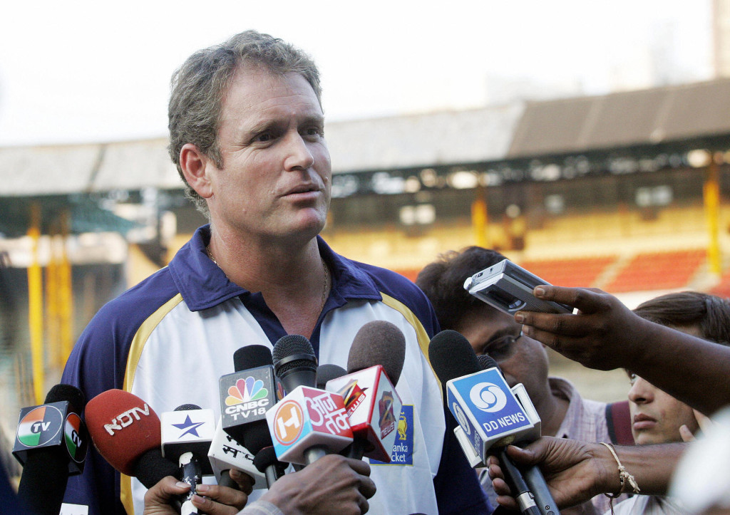 MUMBAI, INDIA: Sri Lankan cricket coach Tom Moody addresses media representatives after a warm-up match against Mumbai Cricket Association (MCA) President's XI in Mumbai, 22 October 2005. The Sri Lankan team led by Attapattu is on a seven-match limited-overs tour of India with their first match set for 25 October. AFP PHOTO/Sebastian D'SOUZA (Photo credit should read SEBASTIAN D'SOUZA/AFP/Getty Images)