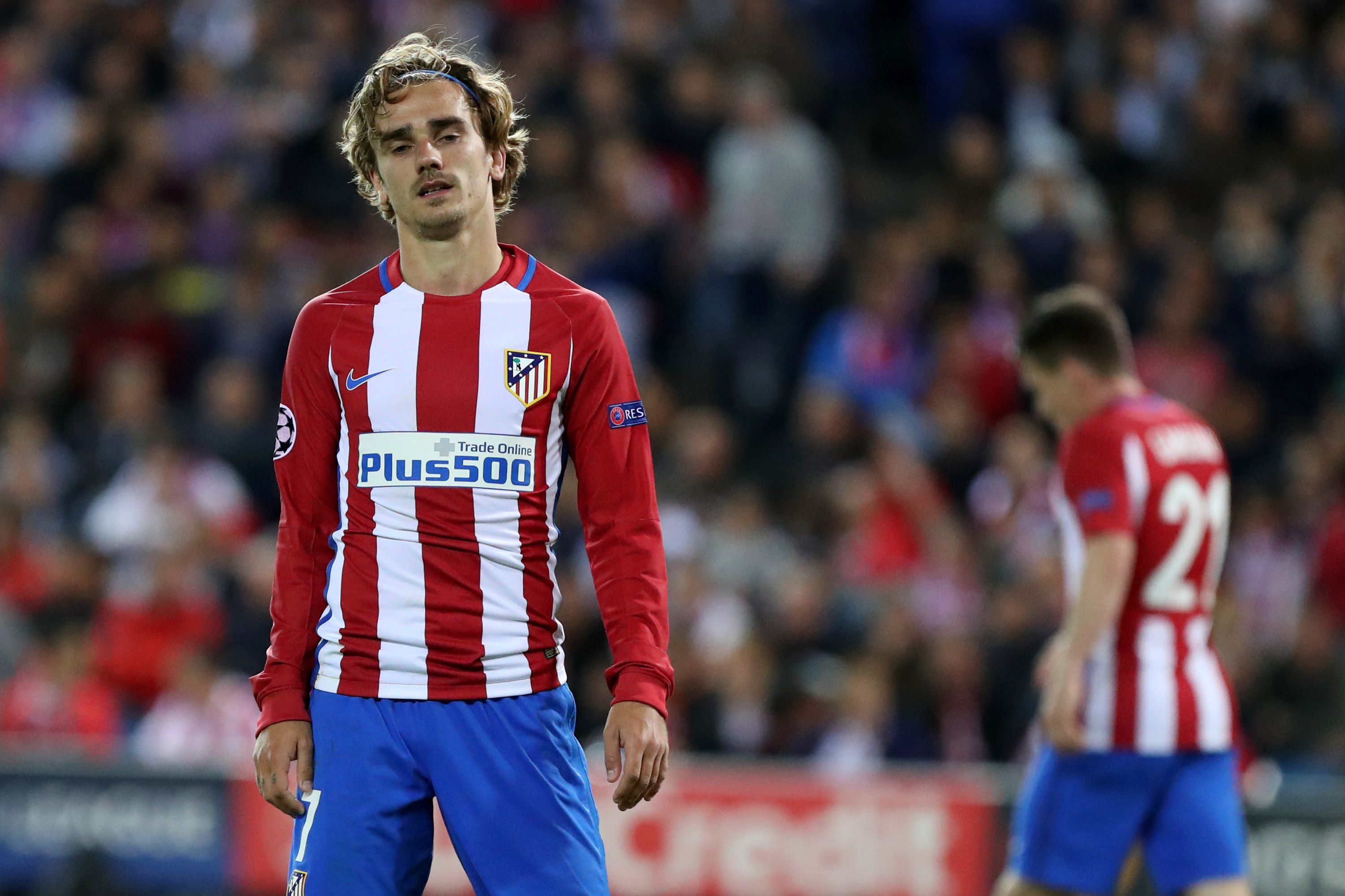 Atletico Madrid's French forward Antoine Griezmann stands on the field during the UEFA Champions League semifinal second leg football match Club Atletico de Madrid vs Real Madrid CF at the Vicente Calderon stadium in Madrid, on May 10, 2017. / AFP PHOTO / CESAR MANSO (Photo credit should read CESAR MANSO/AFP/Getty Images)