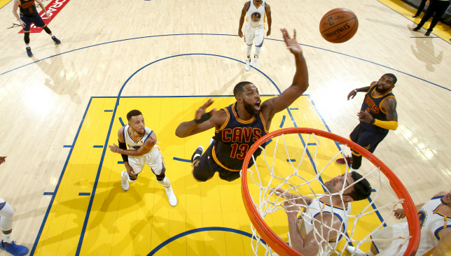 Hitting the glass: Tristan Thompson. Picture: Getty Images.