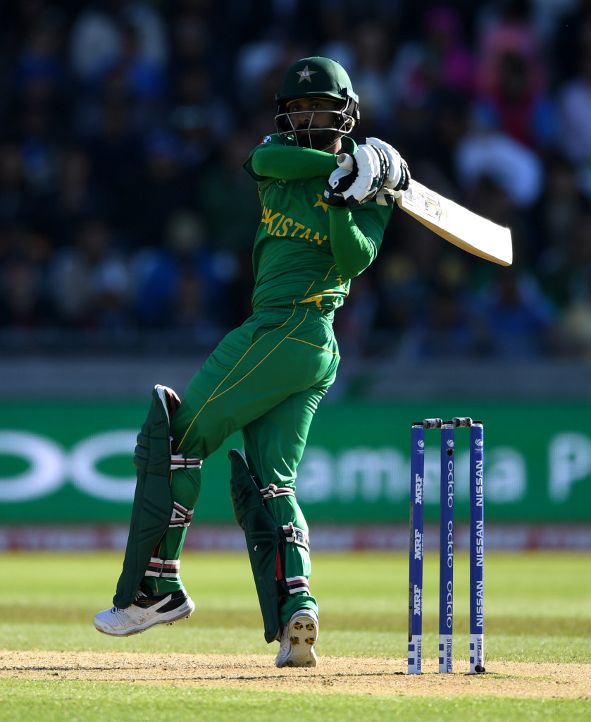 BIRMINGHAM, ENGLAND - JUNE 04: Mohammad Hafeez of Pakistan bats during the ICC Champions Trophy match between India and Pakistan at Edgbaston on June 4, 2017 in Birmingham, England. (Photo by Gareth Copley/Getty Images)