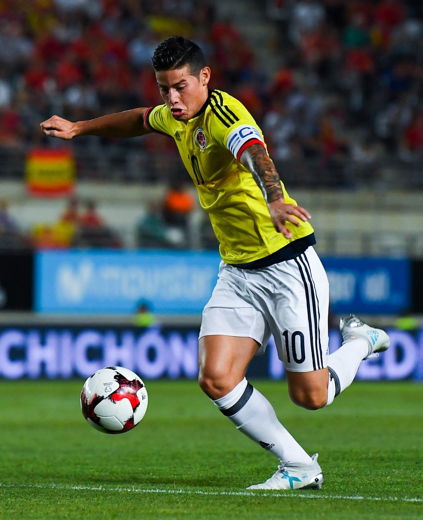 MURCIA, SPAIN - JUNE 07: James Rodriguez of Colombia runs with the ball during a friendly match between Spain and Colombia at La Nueva Condomina stadium on June 7, 2017 in Murcia, Spain. (Photo by David Ramos/Getty Images)