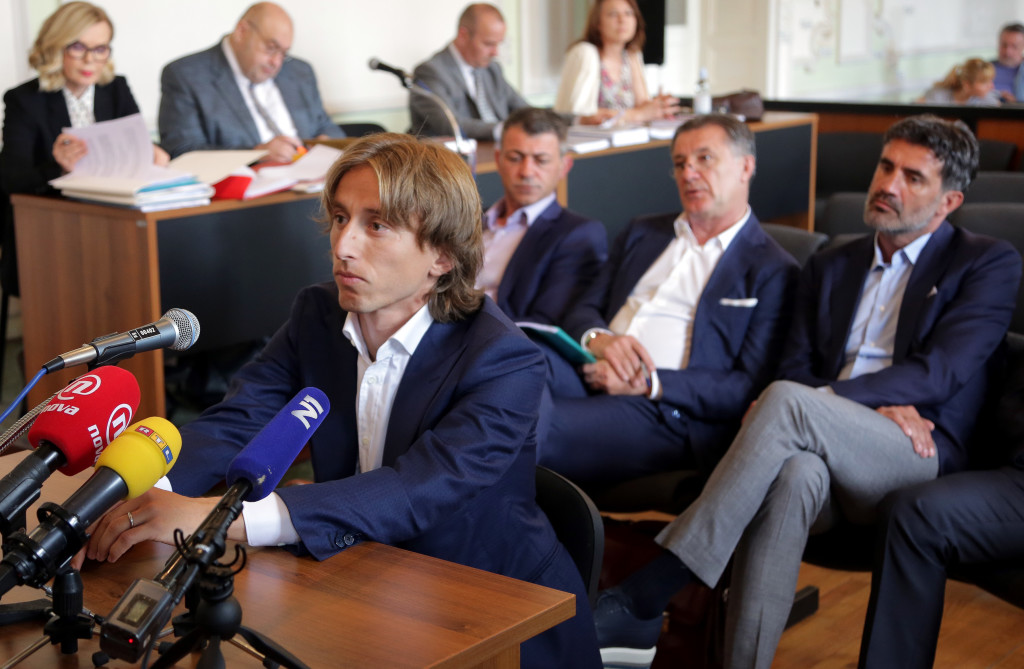 Luka Modric appears in court to testify in the corruption trial