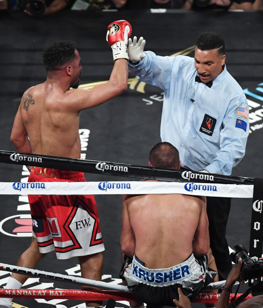 Andre Ward (L) reacts as reacts as referee Tony Weeks stops his light heavyweight championship bout against Sergey Kovalev at the Mandalay Bay Events Center on June 17, 2017 in Las Vegas, Nevada. Ward retained his WBA/IBF/WBO titles with a TKO in the eighth round. (Photo by Ethan Miller/Getty Images)