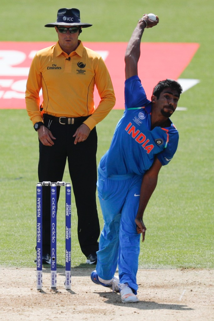 India's Jasprit Bumrah bowls during the ICC Champions Trophy final cricket match between India and Pakistan at The Oval in London on June 18, 2017. / AFP PHOTO / Adrian DENNIS / RESTRICTED TO EDITORIAL USE (Photo credit should read ADRIAN DENNIS/AFP/Getty Images)