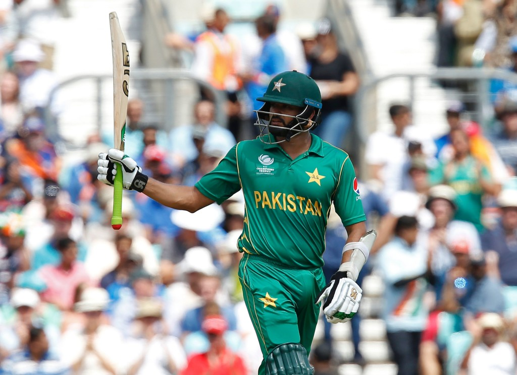 Pakistan's Azhar Ali celebrates after reaching his 50 during the ICC Champions Trophy final cricket match between India and Pakistan at The Oval in London on June 18, 2017. / AFP PHOTO / Ian KINGTON / RESTRICTED TO EDITORIAL USE (Photo credit should read IAN KINGTON/AFP/Getty Images)
