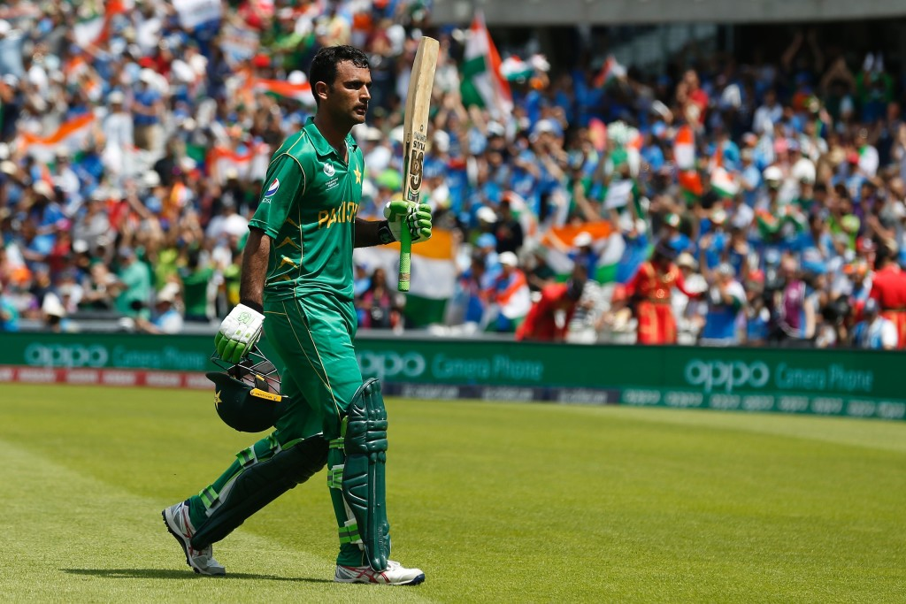 Pakistan's Fakhar Zaman gestures as he walks back to the pavilion after losing his wicket for 114 during the ICC Champions Trophy final cricket match between India and Pakistan at The Oval in London on June 18, 2017. / AFP PHOTO / Ian KINGTON / RESTRICTED TO EDITORIAL USE (Photo credit should read IAN KINGTON/AFP/Getty Images)