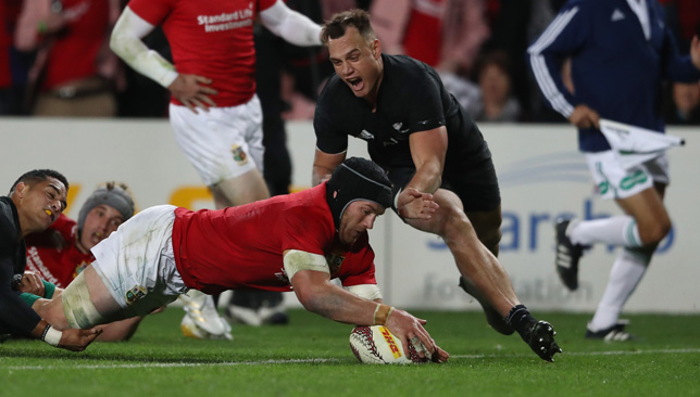 Sean O'Brien dives over for the Lions' first try.