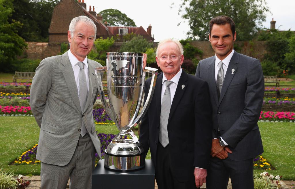 WIMBLEDON, ENGLAND - JUNE 29: L-R John McEnroe,Rod Laver and Roger Federer pose with the Laver Cup trophy at the unveiling of the Laver Cup trophy at Cannizaro House on June 29, 2017 in Wimbledon, England. (Photo by Clive Brunskill/Getty Images)