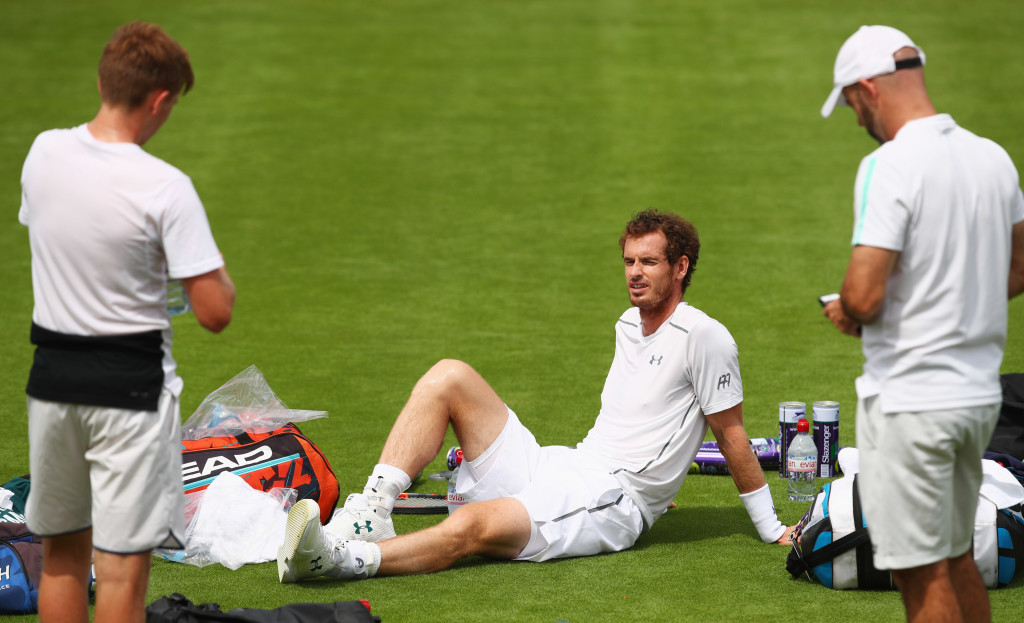 Murray on the practice courts at Wimbledon on Friday.