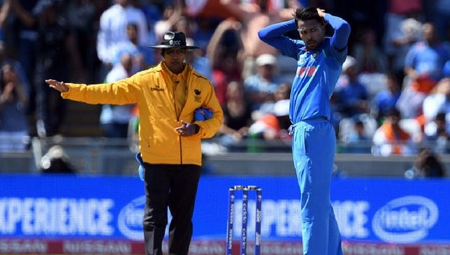 Hardik Pandya reacts after a no-ball cost him a wicket [Getty Images]
