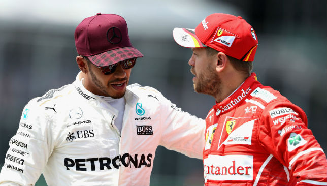 Lewis Hamilton (L) and Sebastian Vettel (R)