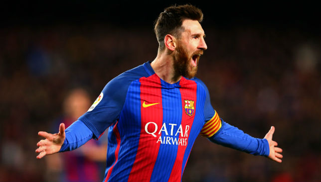 Celebrating a goal: Lionel Messi