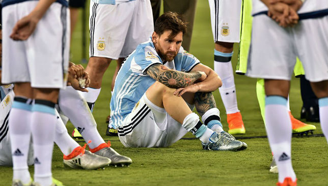Picture says it all: Still waiting for success with the national team, Messi.