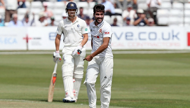Mohammad Amir celebrates after dismissing Nick Gubbins.