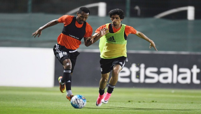 Tariq Ahmed (r) training with the UAE in Malaysia