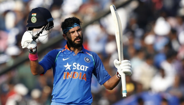 Yuvraj celebrates his century against England [Sportzpics]
