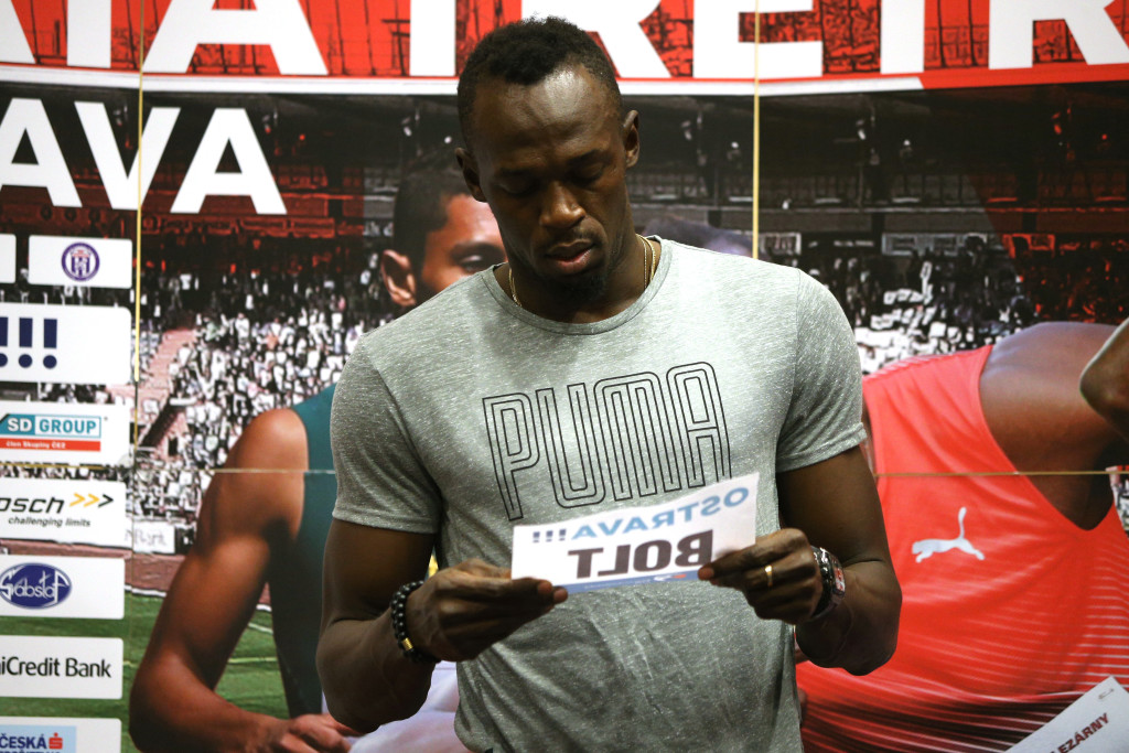 Jamaican sprinter Usain Bolt attends a press conference on June 26 , 2017 in Ostrava, ahead of Golden Spike athletics meeting event. / AFP PHOTO / MILAN KAMMERMAYER (Photo credit should read MILAN KAMMERMAYER/AFP/Getty Images)