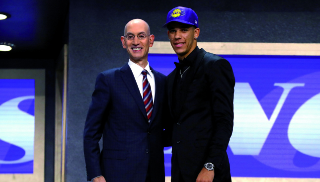 Purple and gold: Lonzo Ball. Picture: Getty Images.