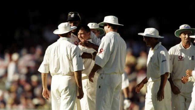 Darren Gough is congratulated by teammates after his hat-trick against Australia in 1999.