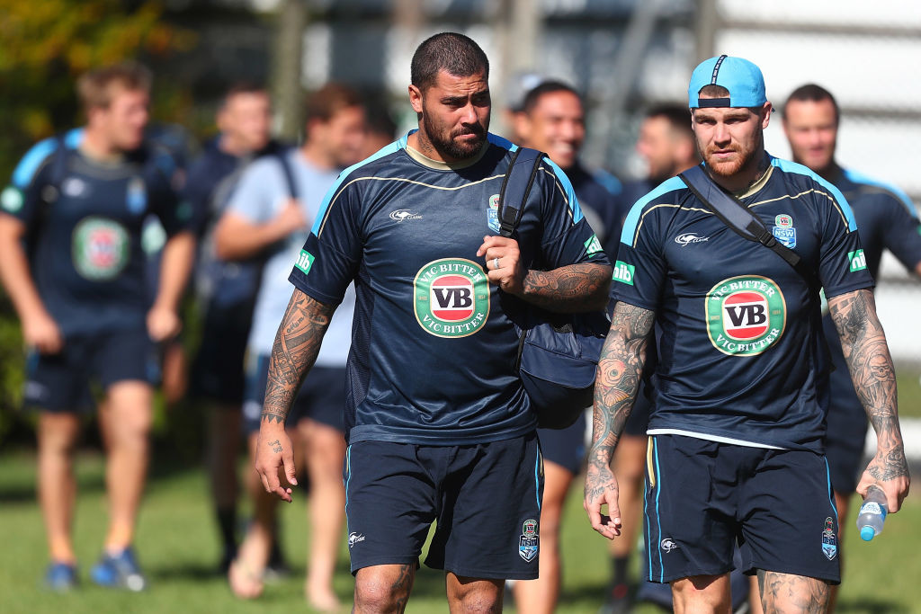 KINGSCLIFF, AUSTRALIA - MAY 28: Andrew Fifita and Josh Dugan arrive for a New South Wales Blues Origin training session at Cudgen Leagues Club on May 28, 2017 in Kingscliff, Australia. (Photo by Chris Hyde/Getty Images)