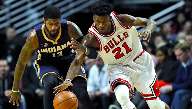 West migration: Paul George and Jimmy Butler. Picture: Getty Images.