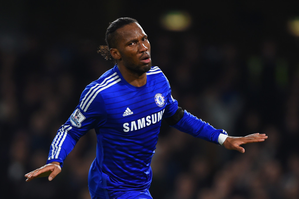 LONDON, ENGLAND - DECEMBER 03: Didier Drogba of Chelsea celebrates scoring their second goal during the Barclays Premier League match between Chelsea and Tottenham Hotspur at Stamford Bridge on December 3, 2014 in London, England. (Photo by Shaun Botterill/Getty Images)