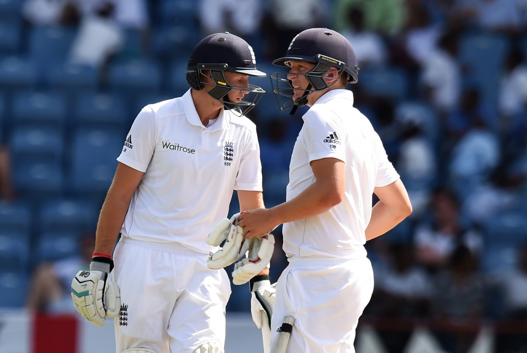 Joe Root and Gary Ballance at the crease together for England