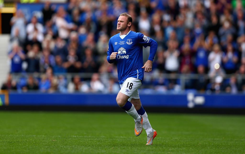 Wayne Rooney in the blue of Everton during Duncan Ferguson's Testimonial in 2015