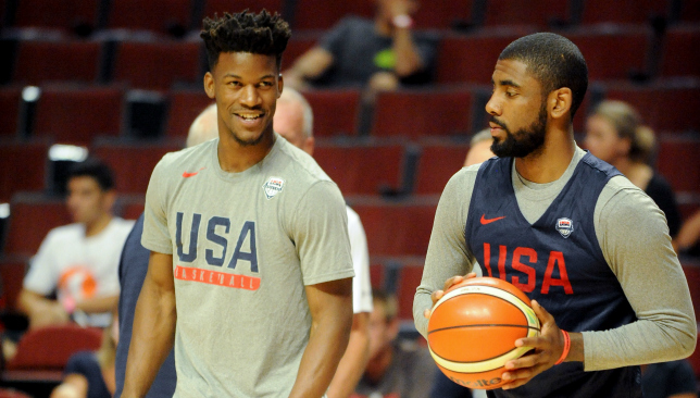 Building bonds: Jimmy Butler and Kyrie Irving with Team USA. Picture: Getty Images.