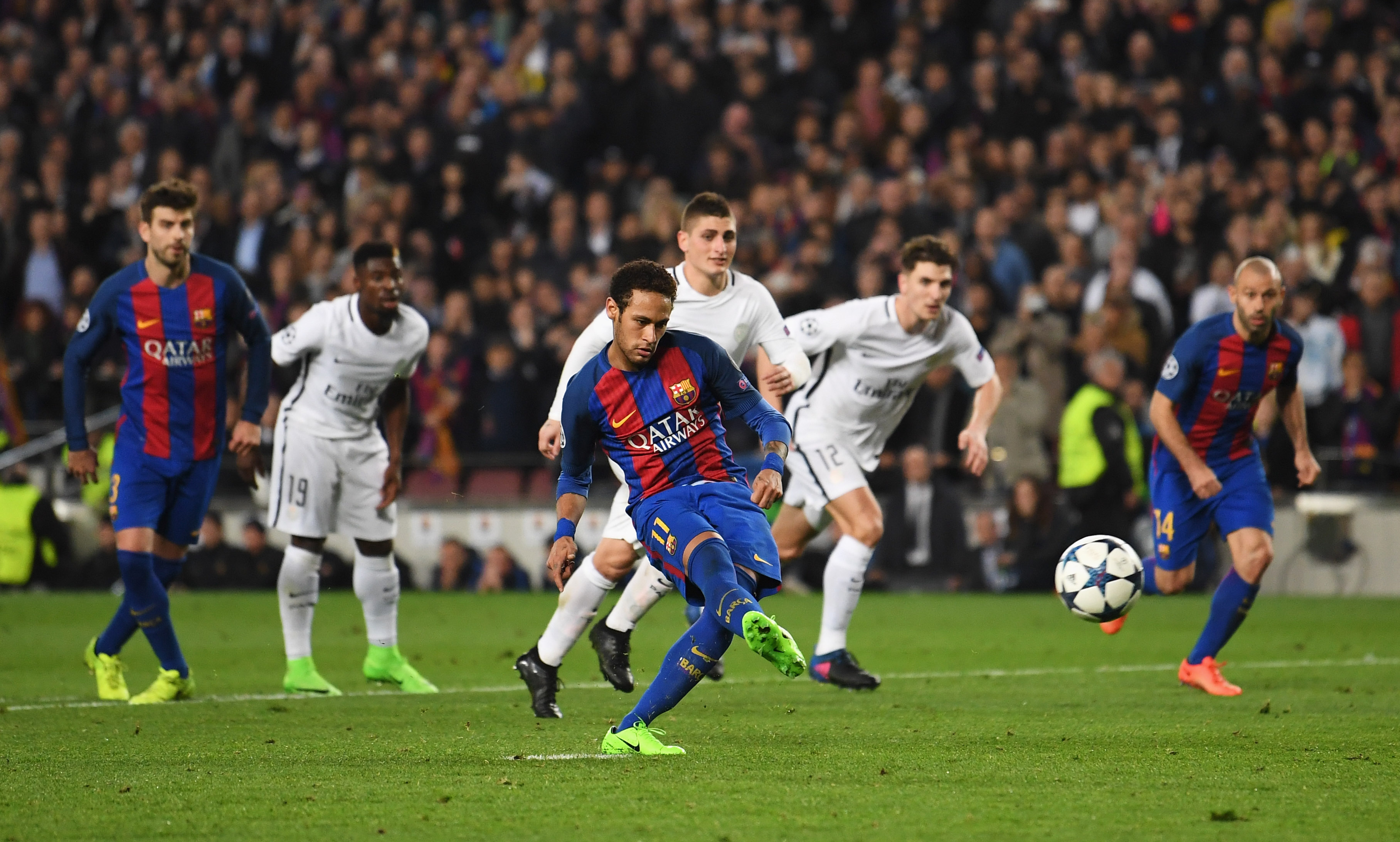 Top target: Neymar scoring against Paris Saint-Germain (Getty).