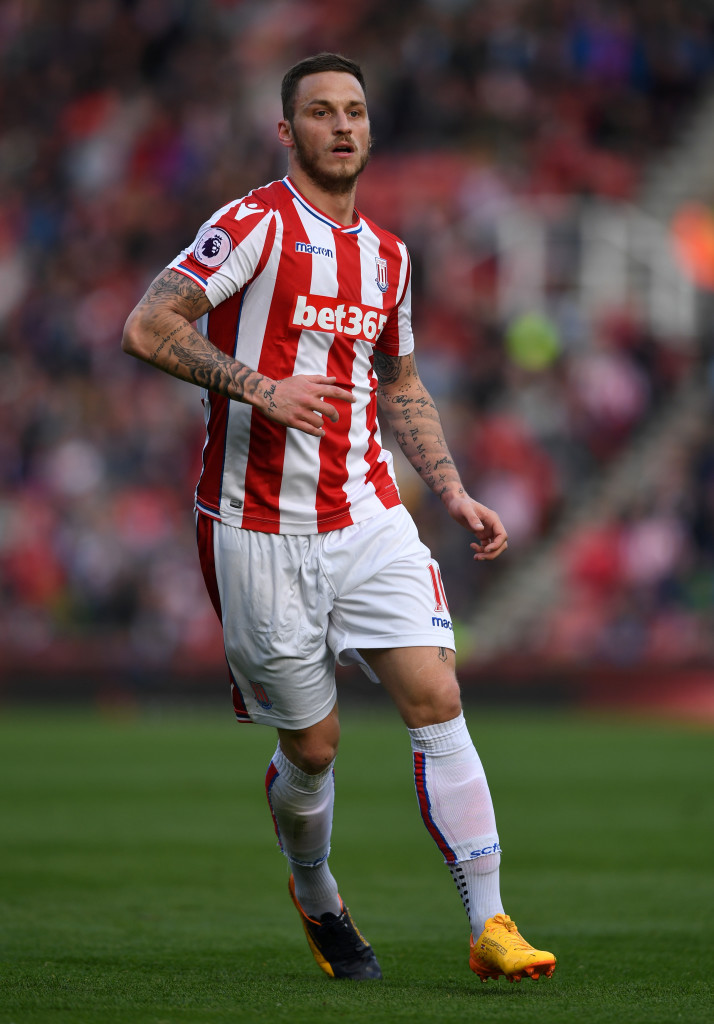 STOKE ON TRENT, ENGLAND - MAY 13: Marko Arnautovic of Stoke City during the Premier League match between Stoke City and Arsenal at Bet365 Stadium on May 13, 2017 in Stoke on Trent, England. (Photo by Gareth Copley/Getty Images)