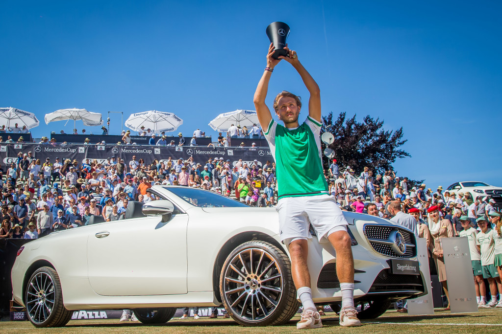 Pouille poses with his trophy in Stuttgart.