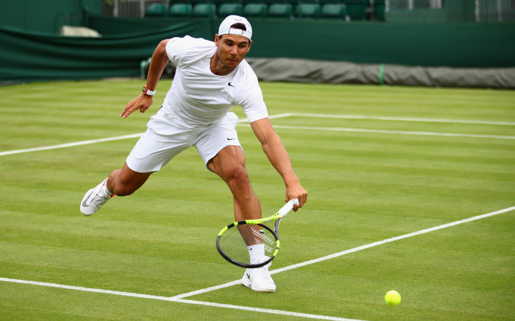 Nadal during a practice session at Wimbledon.
