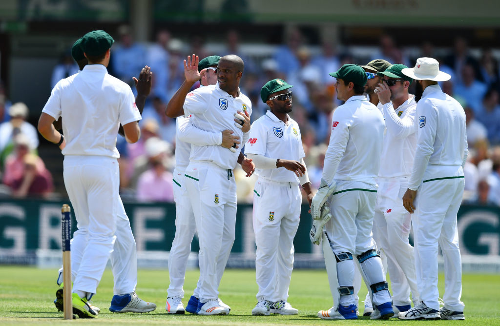 Vernon Philander of South Africa (c) celebrates with his team mates after claiming the wicket of Jonny Bairstow of England during day one of the 1st Investec Test Match between England and South Africa at Lord's Cricket Ground on July 6, 2017 in London, England.