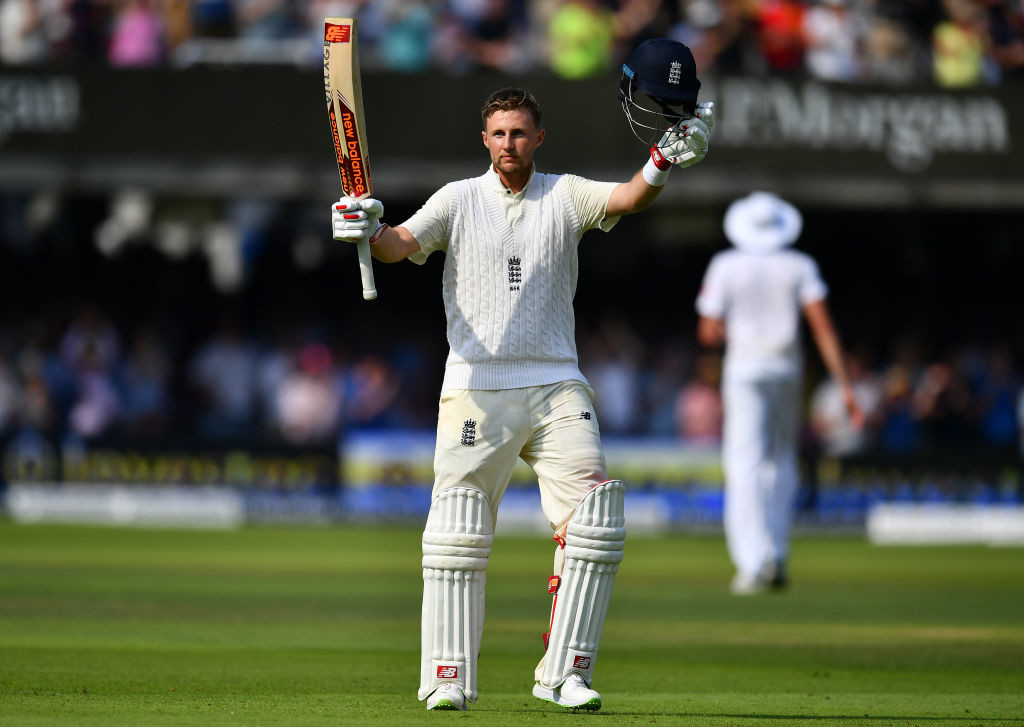 Joe Root of England celebrates reaching his century during day one of the 1st Investec Test Match between England and South Africa at Lord's Cricket Ground.