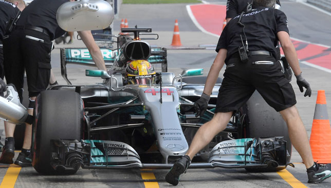 Hamilton received a five place grid penalty for a gearbox change.