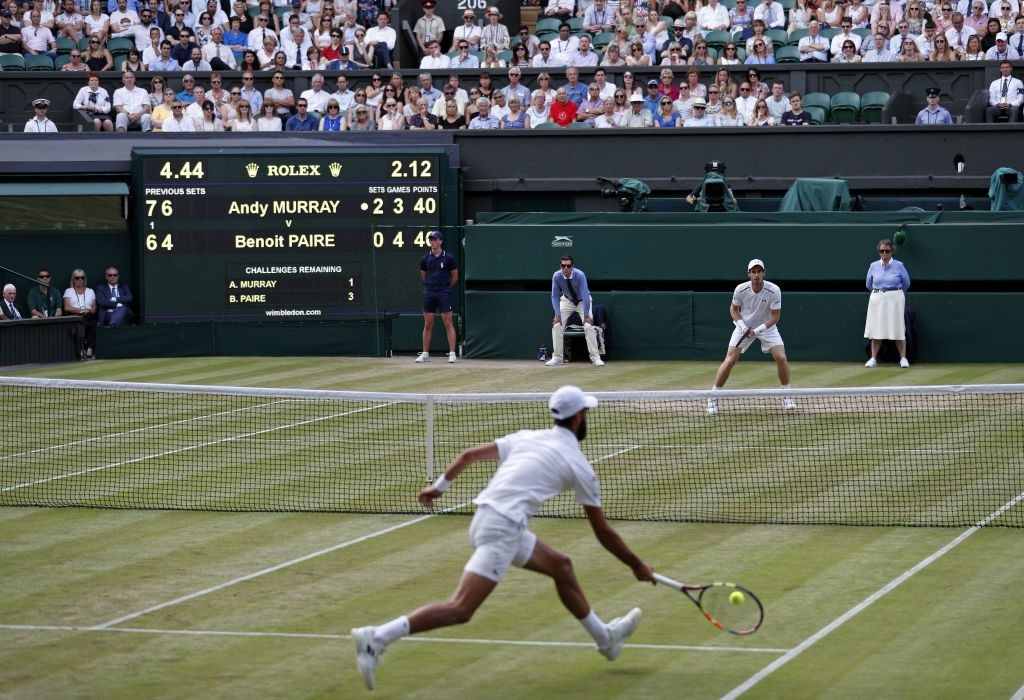 Murray against Paire on Centre Court on Monday.