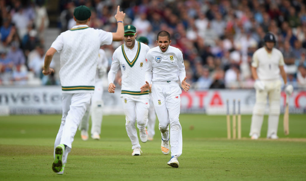South African spinner Keshan Maharaj showed there is turn to be extracted from the pitch.