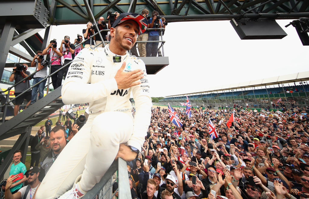 Hamilton celebrated with the crowd post race.