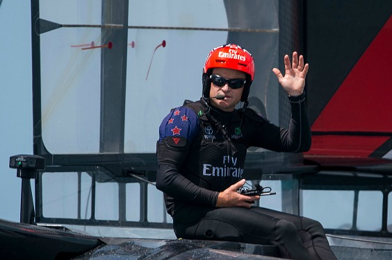 HAMILTON, BERMUDA - JUNE 17: Skipper Glenn Ashby of Emirates Team New Zealand skippered by Peter Burling waves after winning both races on day one of the America's Cup Finals on June 17, 2017 in Hamilton, Bermuda. (Photo by Xaume Olleros/Getty Images)