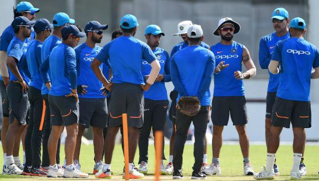 Virat Kohli and Ravi Shastri interact with the team prior to the Test series against Sri Lanka.