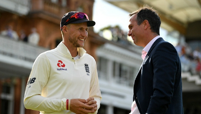 Joe Root and Michael Vaughan after the Lord's Test last week.