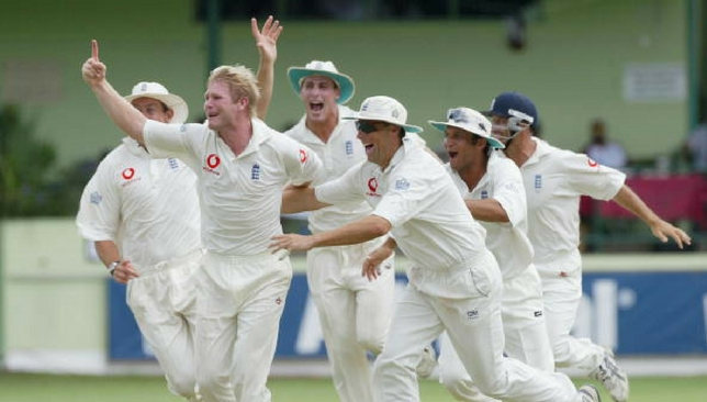 Matthew Hoggard celebrates after taking a hat-trick against West Indies in 2004.