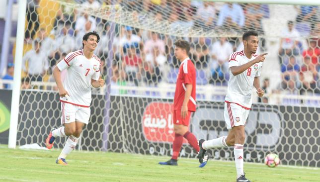 Flying start: Mohamed Al Akbari (r) was among the goals for the UAE (UAE Football Association).