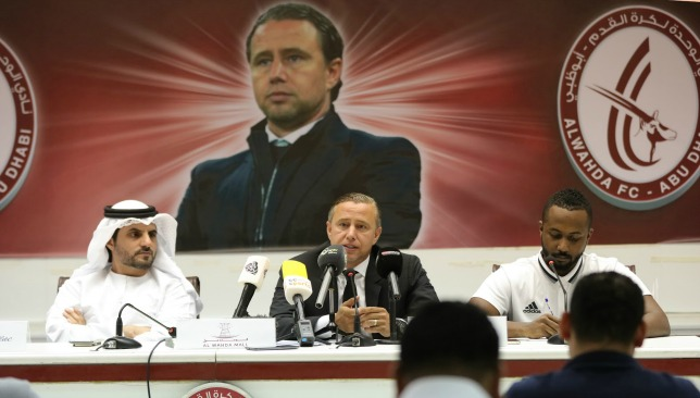 Reghecampf  talks at his press conference at Al Nahyan on Wednesday